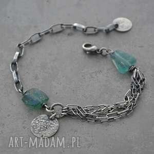 branoletka ze szkłem antycznym - 027, szkło afgańskie, srebro, surowa biżuteria