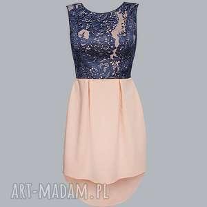 łososiowa sukienka z wydłużonym tyłem, sukienka, łosoś, grananat, koronka