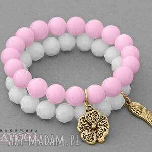 pink jade & white crystal set - kryształek, zawieszka, kwiatek, jadeit