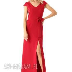 długa prosta sukienka hellen malina, sukienka, wieczorowa