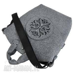 hand-made na ramię torebka filcowa - biggest bag szary filc i ażurowa aplikacja