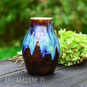 azulhorse duży wazon ceramiczny - z malowniczymi zaciekami niebiesko brązowy