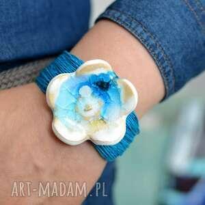 hand-made bransoletka z lnu ceramiką kwiat morska