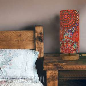 lampa stołowa czerwona tysiąc kwiatów, design, drewno, dąb, ręcznie, styl