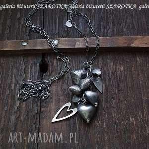 SERDUSZKOWO romantyczny naszyjnik ze srebra, srebro, oksydowane, serca, serduszka