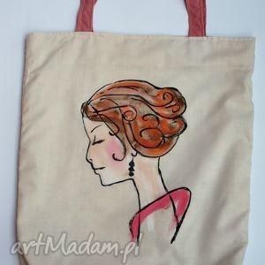 torba z ręcznie wykonanym rysunkiem - twarz kobiety, eko, rysunek, dowolny