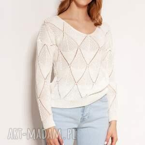 swetry ażurowa bluzka - swe144 ecru, sweter na wiosnę, ażurowy sweter