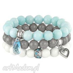 hand made bransoletki light blue, grey & white set