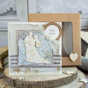 ręcznie wykonane kartki piękna rustykalna kartka ślubna w pudełeczku. Niezwykła pamiątka