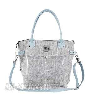 na ramię torebka damska szary melanż z przezroczystą kieszonką, torba ramie
