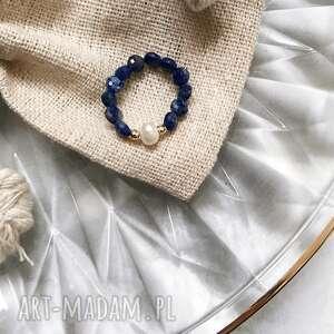 pierścionek - lapis lazuli, perły, złoto, srebro, biżuteria