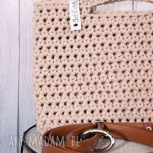 torebki looped karmelowy, sznurek, bawęłna, szydełko