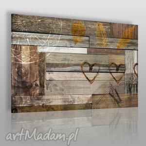 obraz na płótnie - serca drewno 120x80 cm 51901, drewno, deski, serca, liście