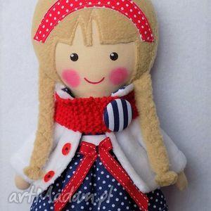 lalki malowana lala natalia z wełnanym szlikiem, lalka, zabawka, przytulanka, prezent