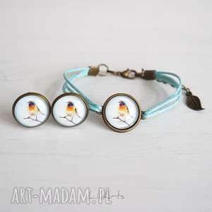 komplet - klipsy i bransoletka sznureczki, niebieskie, antyczny brąz