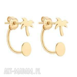 złote kolczyki z palmami - pozłacane eleganckie, gold, 925