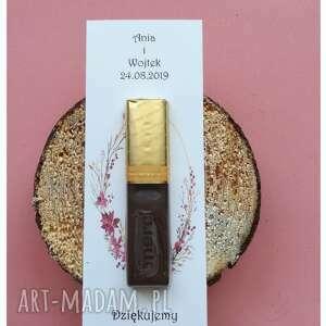 Podziękowanie dla gości weselnych, czekoladki zaproszenia oliami