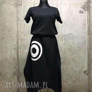 Black in black-sukienka, asymetryczna-sukienk, bawełniana, luźna, wygodna, boho,