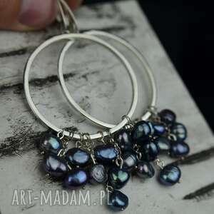 Duże kolczyki koła z perłami srebro barbara fedorczyk perły