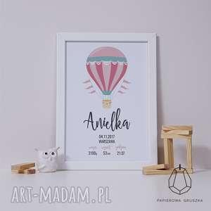metryczka różowy balon - metryczka, plakat, obrazek, urodziny, chrzest, prezent