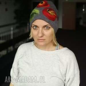 czapka szara wełniana zimowa folkowa boho damska handmade, czapka, wełniana, etno