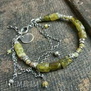 Bransoletka srebrna z zielonym granatem grossular treendy