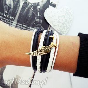 black white, bransoletka, skrzydło, skrzydełko, czarno, biała biżuteria, prezent na