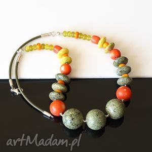 akadi 1 serpentynit w kolorze, serpentynit, koral, jadeit, srebro, skóra