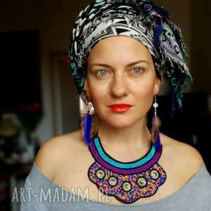 Ruda Klara kolczyki pióra brązowo niebieskie lekkie styl boho