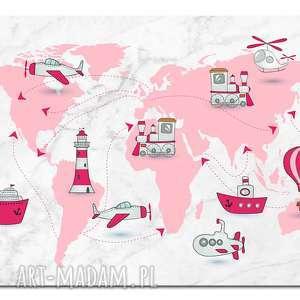 pokoik dziecka obraz xxl mapa świata 3 dziecięca- 120x70cm na płótnie, obraz