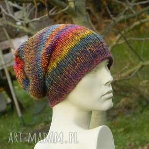 Kolorowa boho czapka - melanż czapki aga made by hand czapka