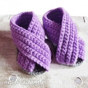 Szydełkowe sandałki fioletowe, buciki, sandałki, szydełkowe