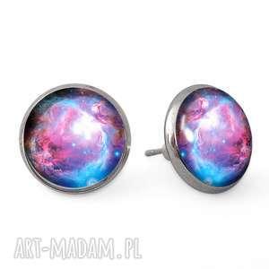egginegg nebula - kolczyki wkrętki - turkusowe kolczyki, sztyfty galaxy