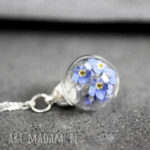 925 mini srebrny łańcuszek -kwiaty niezapominajki- - niezapominajki, kwiaty, kulka