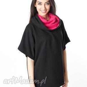 bluzy obszerna bluzka narzutka typu oversize czarny - malina, bawełna, dzianina