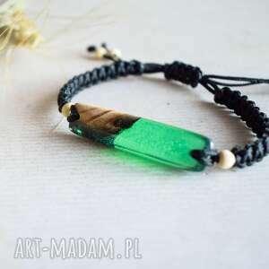 hand-made harita - bransoletka z drewnem i transparentą zieloną