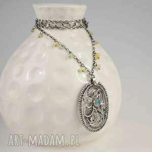 alearis - naszyjnik z opalem szlachetnym, wire wrapping, opal, elegancki