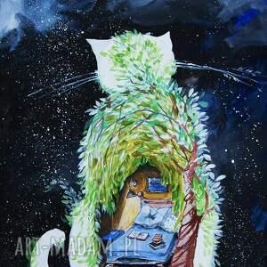 adriana laube art akryl na płótnie, obraz kot sypialniany, obraz, akryl, noc