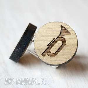 Dębowe spinki do mankietów TRĄBKA, spinki, trąbka, muzyka, instrument, drewniane,