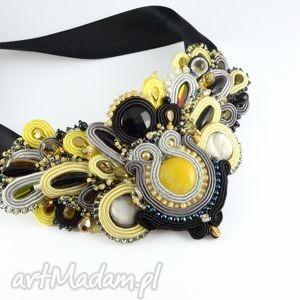 Czarno-szaro-żółty naszyjnik sutaszowy - ,glamour,sutasz,soutache,barokowy,elegancki,