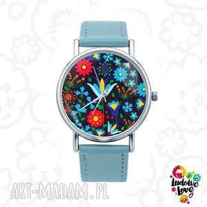zegarki zegarek z grafiką kaszubski czarny, polskie, wzory, ludowe, folk, kwiaty