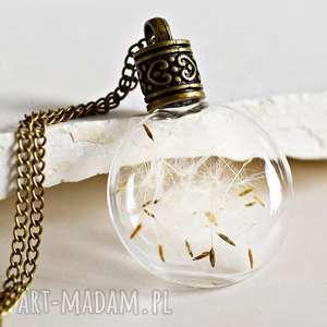 Życzenie buteleczka z dmuchawcami - dmuchawiec, naszyjnik, brąz, prezent