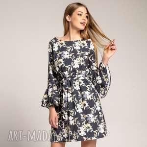 Sukienka Veronica Grey Floral, luźna-sukienka, wzorzyste-sukienki, sukienki-w-kwiaty