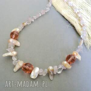 perły i kryształy - naszyjnik, perły, perła, kryształ