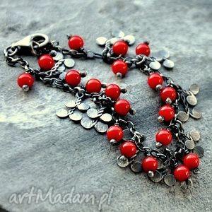 bransoletki czerwone korale- drobna, subtelna bransoletka, srebro, koral, drobna
