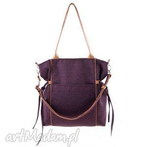 Amber - duża torba shopper bordowa plecionka na ramię incat