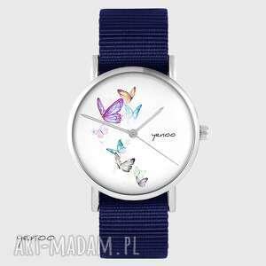 zegarek yenoo - motyle granatowy, nato, zegarek, pasek, motyl, unikatowy