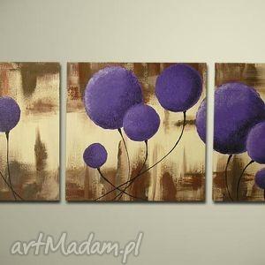 dmuchawce fioletowe 2 - 150x50cm obraz duży ręcznie malowany, obraz