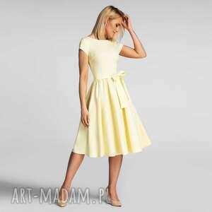 sukienka marie midi pastelowy żółty, midi, rozkloszowana