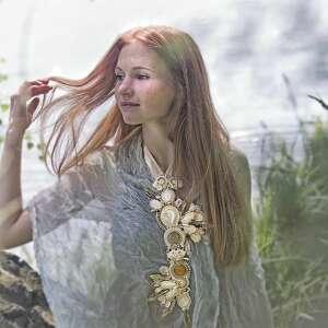 Kremowo-złoty ślubny naszyjnik - HandMade